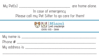 Miami Pet Concierge's Pet Emergency Card Back Side