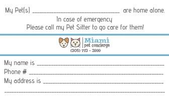 Miami Pet Concierge's Pet Emergency Card Back Side